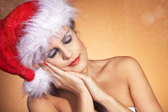 Woman with santa hat close up Royalty Free Stock Photo