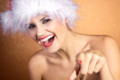 Woman with santa hat close up Stock Photography
