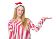 Woman with santa hat and hand show with blank sign Royalty Free Stock Photo