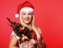 Woman with Santa hat holding christmass tree Royalty Free Stock Photos