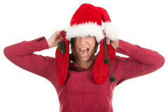 Woman in Santa hat keeping red socks Royalty Free Stock Photography