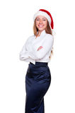 Woman in santa hat is posing Royalty Free Stock Photo