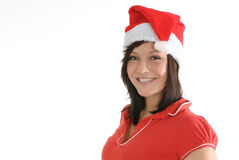 Woman in Santa Hat Smiling Stock Photo