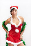 Woman in santa hat with spangle stock photos