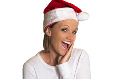 Woman in santa hat surprised. Stock Images