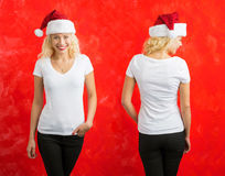 Woman in Santa hat wearing white V-neck T-shirt. Front and back Stock Images