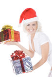 Woman in santa hat and white stockings Stock Image