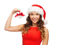 Woman in santa helper hat with jingle bells Royalty Free Stock Photography