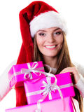 Woman santa helper hat with many pink gift boxes Royalty Free Stock Photography