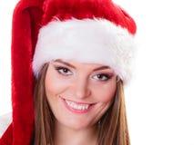 Woman santa helper hat portrait Stock Image
