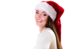 Woman santa helper hat portrait Stock Photos