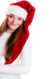 Woman santa helper hat portrait Royalty Free Stock Image