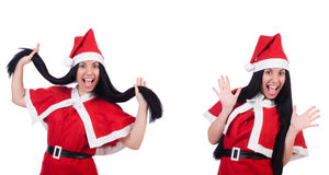 The woman santa isolated on the white Stock Photos