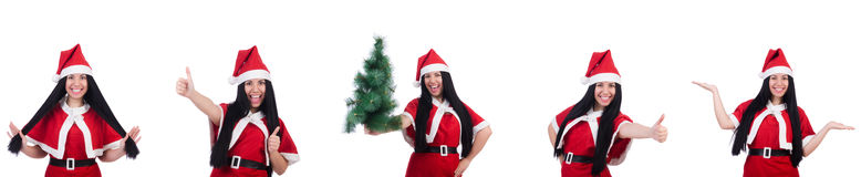 The woman santa isolated on the white Stock Photography