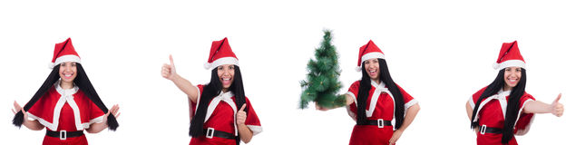 The woman santa isolated on the white Stock Photo