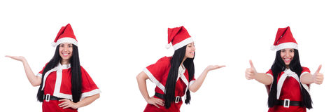 The woman santa isolated on the white Royalty Free Stock Images