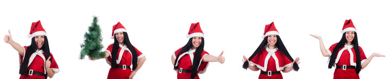 The woman santa isolated on the white Royalty Free Stock Photo