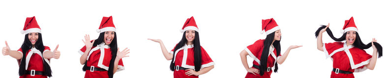 The woman santa isolated on the white Stock Images