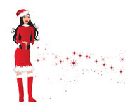 Woman In Santa Outfit Holding. An Illustration of a Woman in a santa outfit holding a wrapped gift Stock Photo