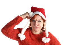 Woman in santa's cap isolated Royalty Free Stock Image