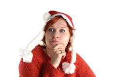 Woman in santa's cap isolated Royalty Free Stock Photography