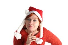 Woman in santa's cap isolated Stock Photos