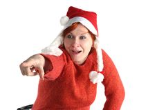 Woman in santa's cap isolated Stock Photo