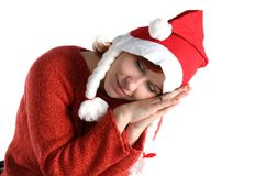 Woman in santa's cap isolated Royalty Free Stock Images