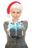 Woman in Santa's hat Stock Images
