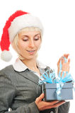 Woman in Santa's hat Stock Photography