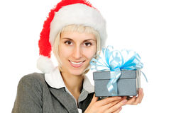 Woman in Santa's hat Royalty Free Stock Photos