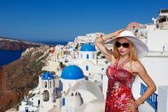 Woman in Santorini Stock Image