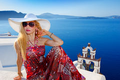 Woman in Santorini Royalty Free Stock Photography