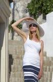 Woman in santorini Royalty Free Stock Photos