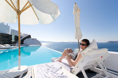 Woman in Santorini, Greece Stock Photography