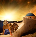 Woman on Santorini Island Royalty Free Stock Photos