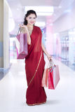 Woman with saree clothes at mall Stock Image