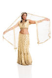 Woman sari dancing Stock Photo