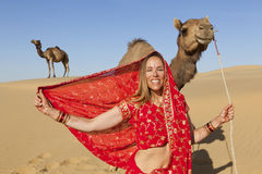 Woman in sari in desert with camels. Royalty Free Stock Photography