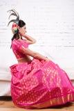 Woman in a sari dress Royalty Free Stock Image