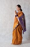 Woman in a sari. On a white background Stock Images