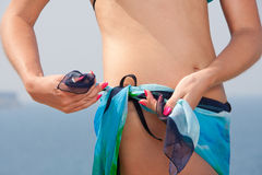 Woman with sarong. Beautiful woman with sarong on the beach Royalty Free Stock Photos