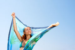 Woman with sarong. Beautiful woman with sarong in the wind Royalty Free Stock Photos