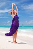 Woman with sarong. On caribbean beach Stock Image