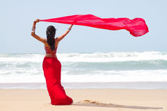Woman sarong beach. Rear view of a young woman holding a sarong on windy beach Stock Photography
