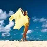 Woman with sarong at beach Royalty Free Stock Photography