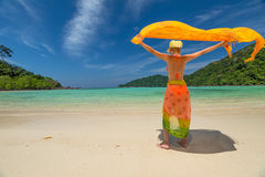 Woman with sarong Stock Photos