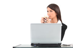 Woman sat at laptop Stock Photos