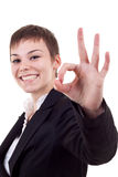 Woman satisfied with results Royalty Free Stock Image