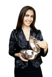 Woman with sauce pan Royalty Free Stock Photos